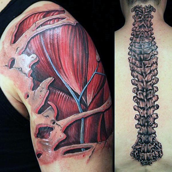 Upper Arm 3d Muscle Tattoos For Guys