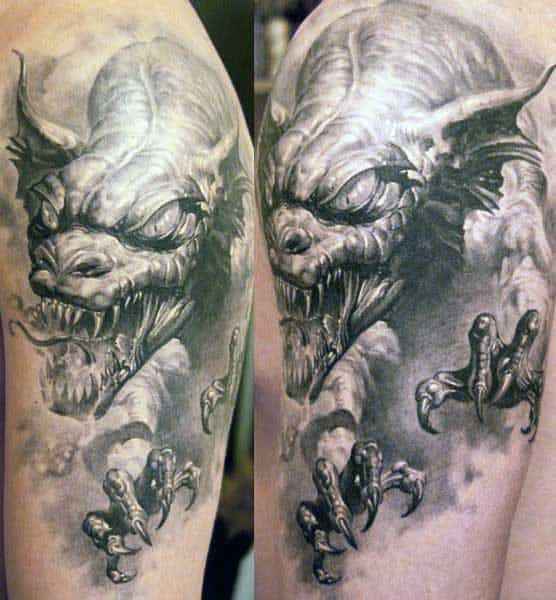 Upper Arm 3d Realistic Dragon Shaded Male Tattoo Inspiration