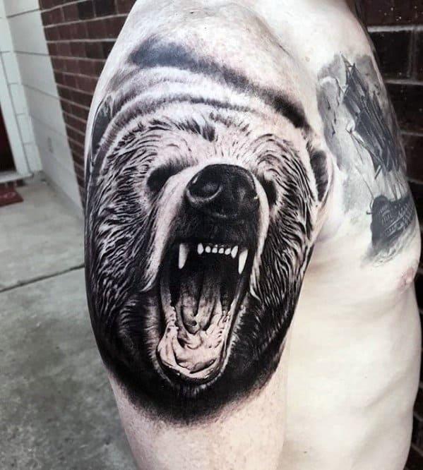 Upper Arm 3d Roaring Bear Head Great Tattoo Ideas For Males