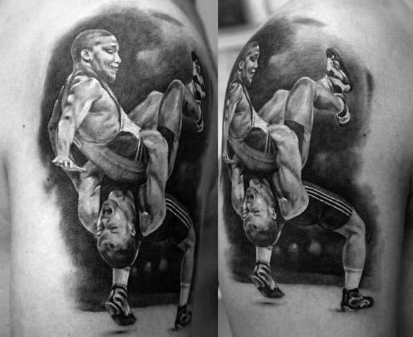 Upper Arm 3d Wrestling Tattoo Ideas On Guys