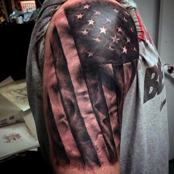 Upper Arm American Flag Tattoo Design On Men