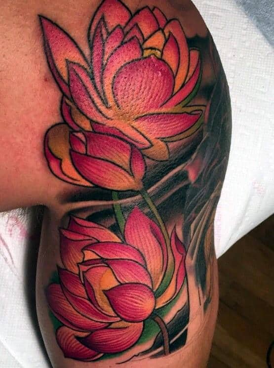 Upper Arm And Shoulder Lotus Flower Guys Tattoos