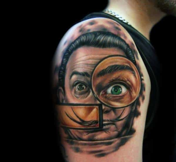 Upper Arm And Shoulder Male Cool Salvador Dali Tattoo Ideas