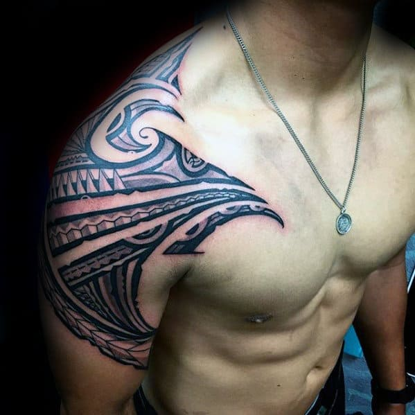 Upper Arm And Shoulder Male Tribal Sick Tattoos