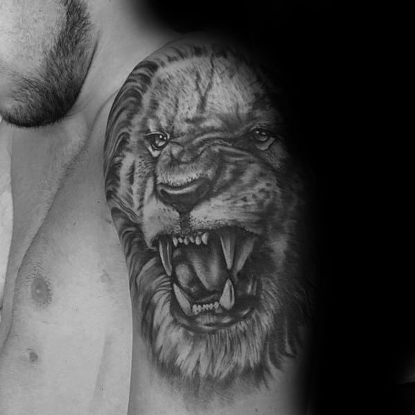 Upper Arm And Shoulder Mens Lion Tattoos