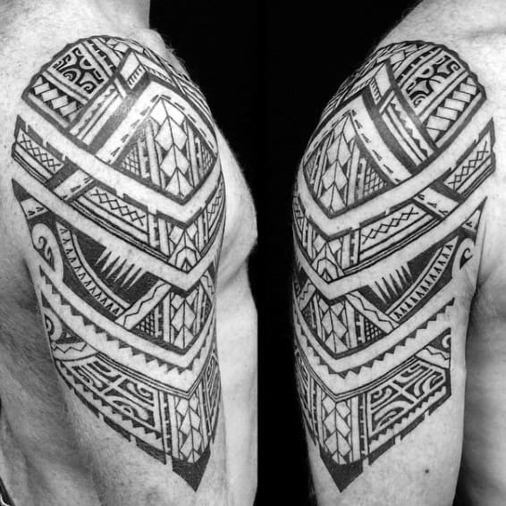 Upper Arm And Shoulder Samoan Male Tattoo Ideas