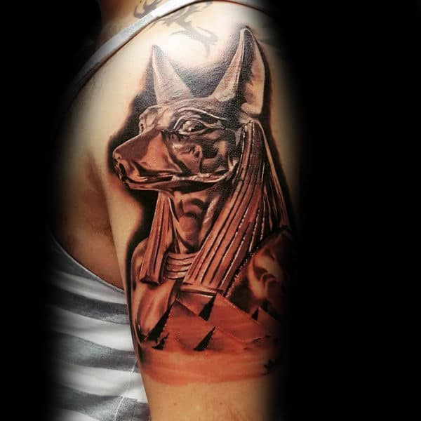 Upper Arm Anubis Egypt Pyramids Tattoos