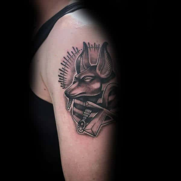 Upper Arm Anubis God Canine Head Mens Tattoos