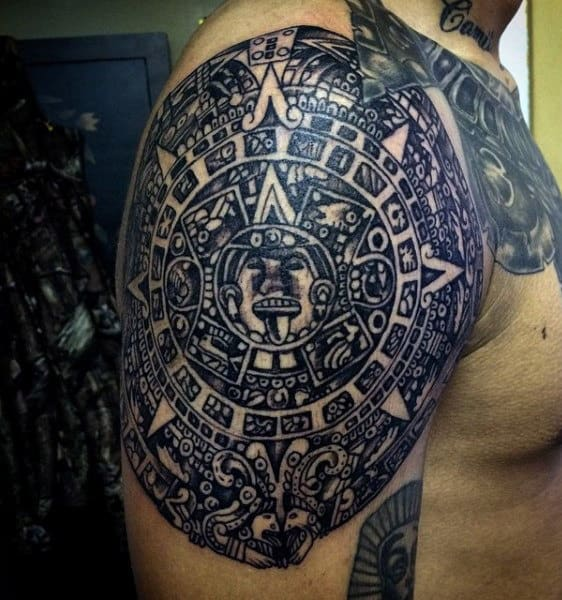 Upper Arm Aztecs Tattoos Men