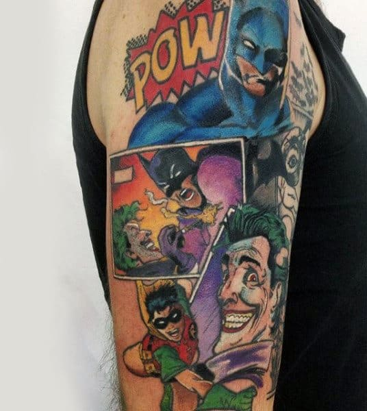 Upper Arm Batman And Robin Comic Strip Tattoo Design
