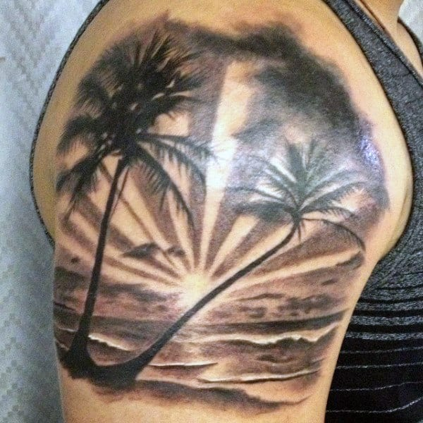 Upper Arm Beach Palm Tree Tattoos For Men