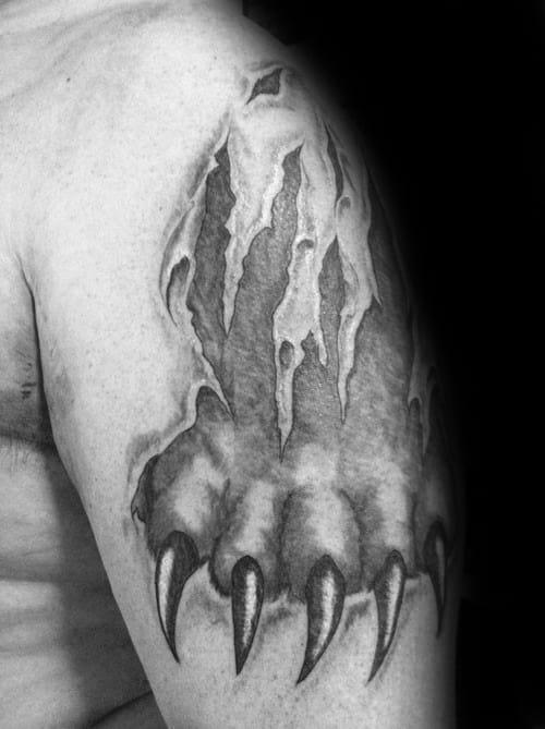Upper Arm Bear Claw Torn Skin Male Tattoos