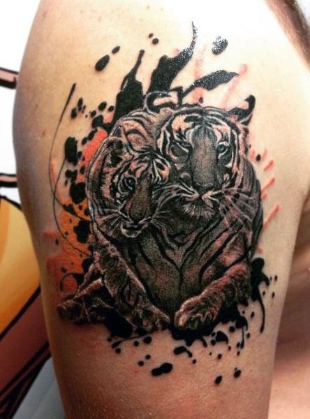 Upper Arm Bengal Tiger Tattoo For Men