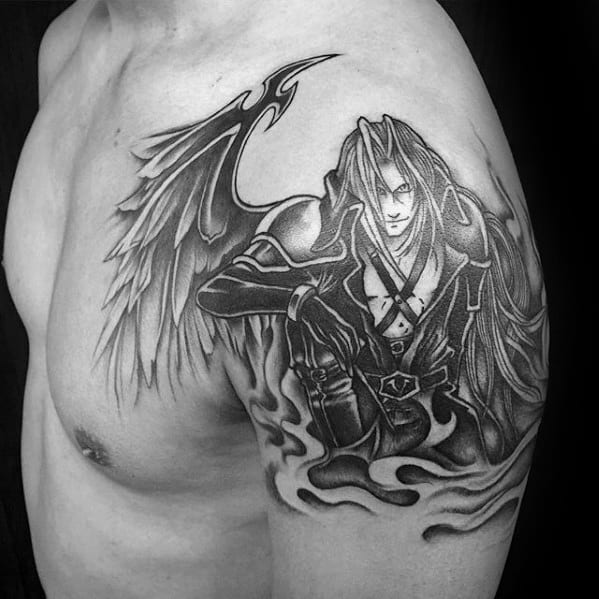unique final fantasy video game guys arm tattoo ideas