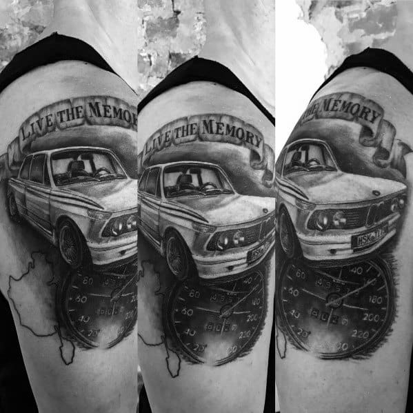 Upper Arm Black And Grey Incredible Bmw Tattoos For Men