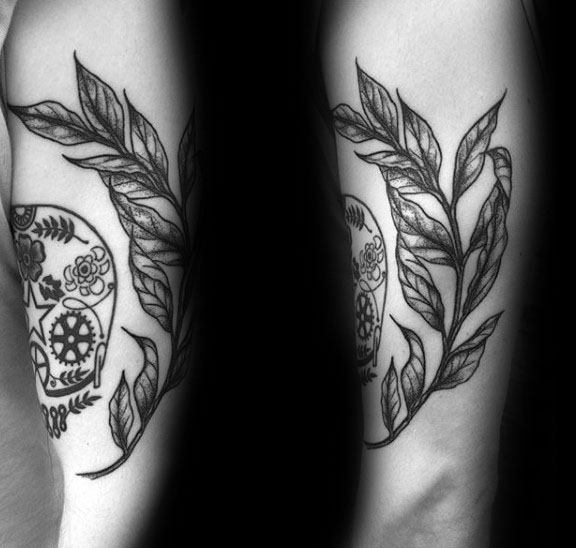 Upper Arm Black And Grey Ink Guys Olive Branch Tattoos