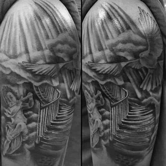 Upper Arm Black And Grey Shaded Heaven Tattoo For Men