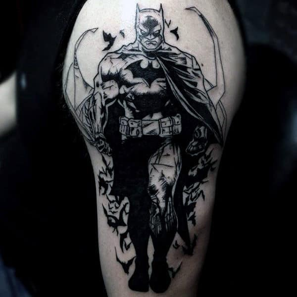 Upper Arm Black Ink Dark Mens Batman Tattoo Designs