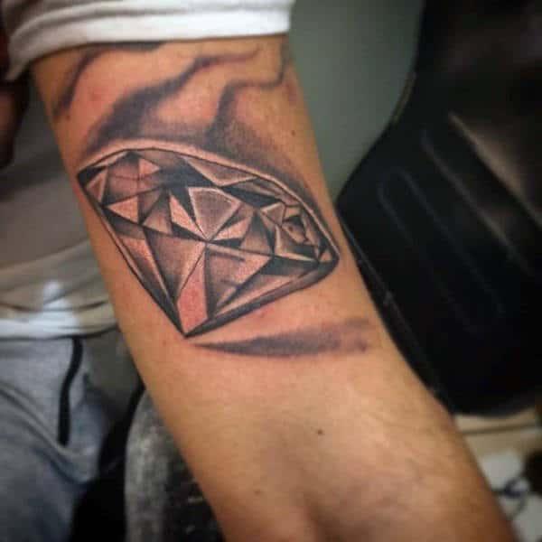 Upper Arm Black Ink Shaded Male Diamond Tattoos