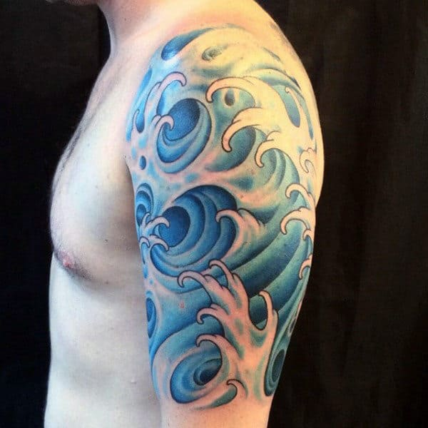 Upper Arm Blue Guys Tattoos Water