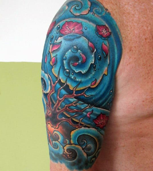 Upper Arm Blue Mens Water Themed Tattoos