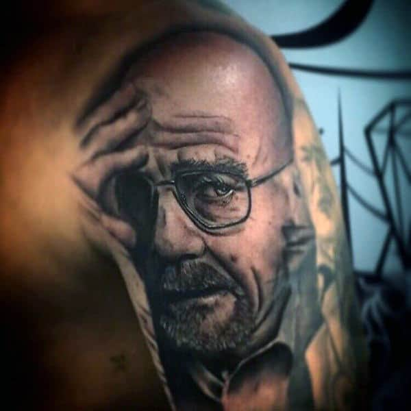 Upper Arm Breaking Bad Tv Show Tattoo Design On Man