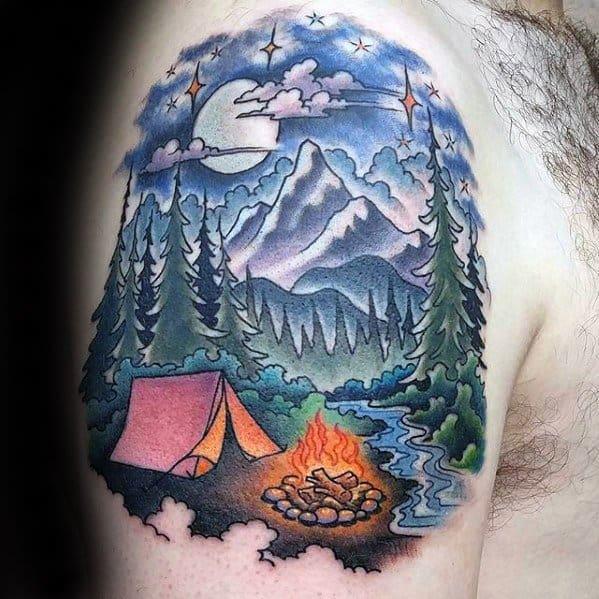 Upper Arm Campfire Tent Mens Tattoo Designs