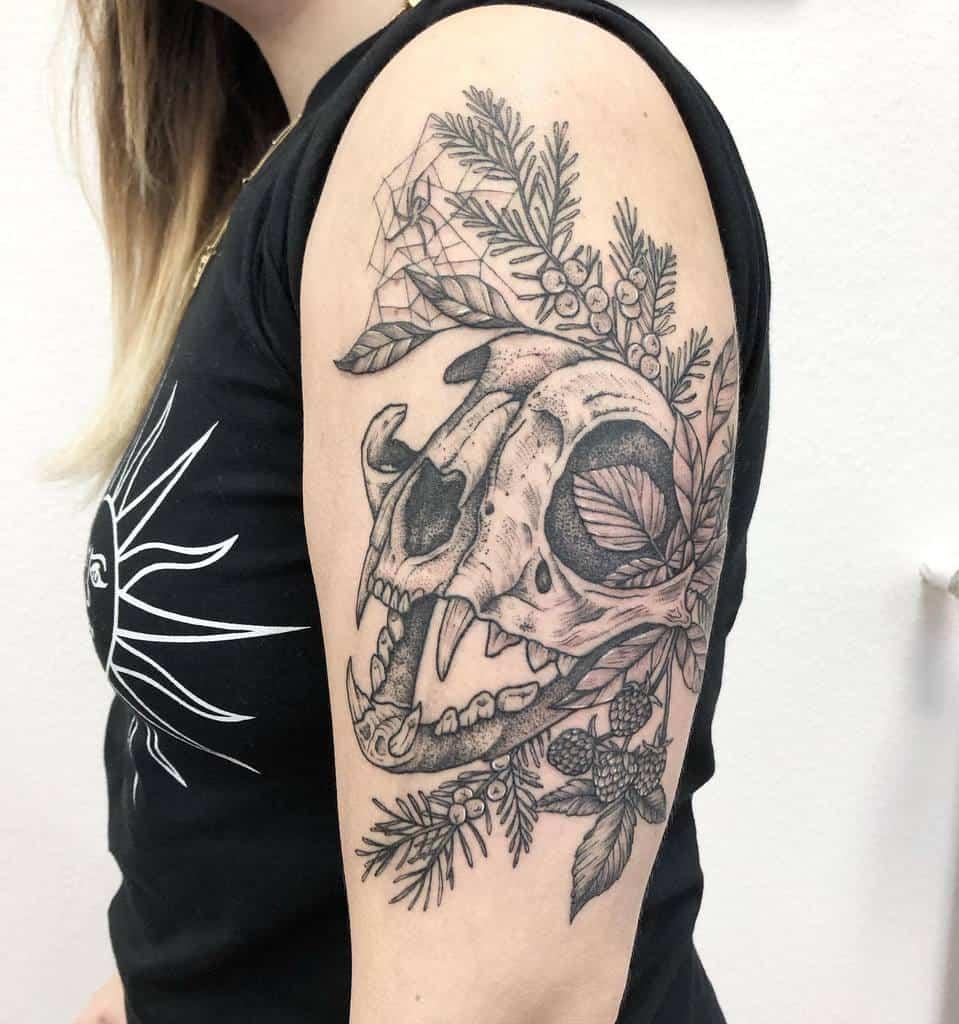 upper arm cat skull tattoo _saskia.klotz_