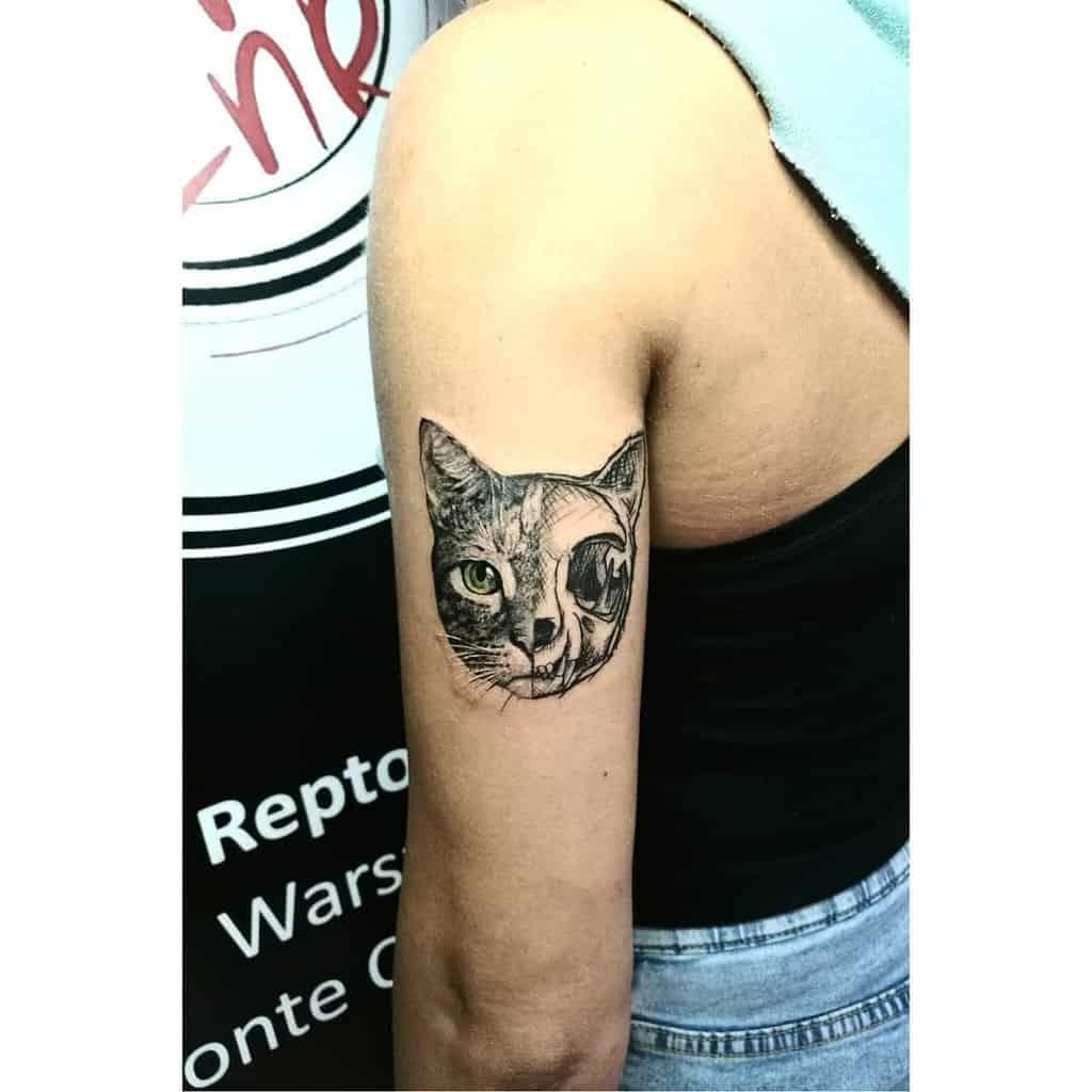 upper arm cat skull tattoo dzess.tattoo