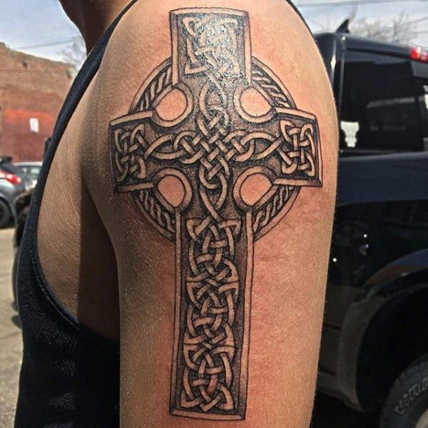 Upper Arm Celtic Knot Cross Tattoos For Men