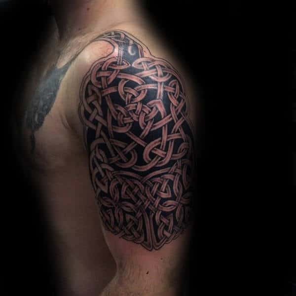 Upper Arm Celtic Knot Tattoo On Gentleman