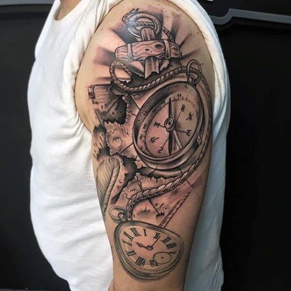 Upper Arm Compass Nautical Mens Tattoo Ideas