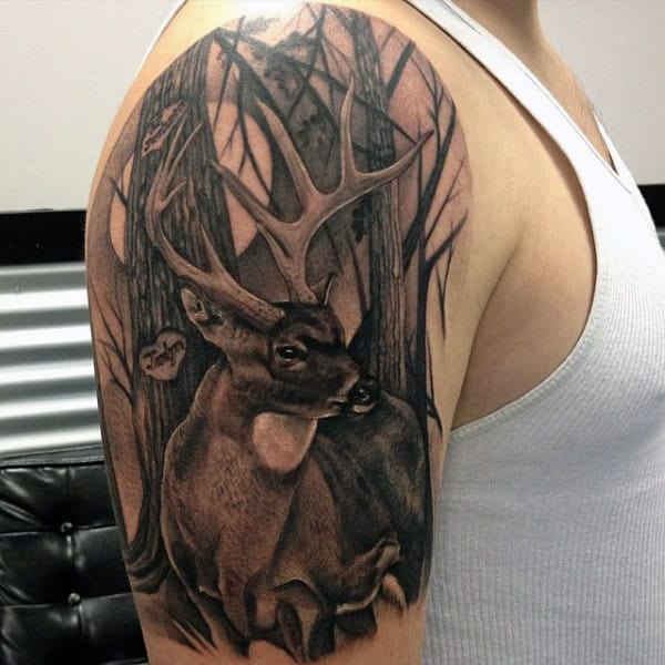 90 deer tattoos for men manly outdoor designs rh nextluxury com pictures of deer antler tattoos pictures of deer skull tattoos