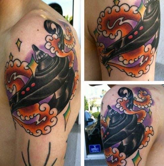 Upper Arm Cool Male Genie Lamp Tattoo Designs