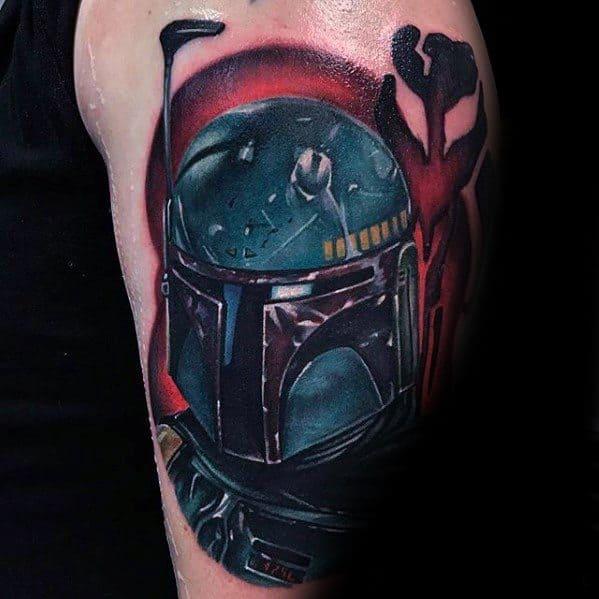 Upper Arm Cool Male Mandalorian Tattoo Designs