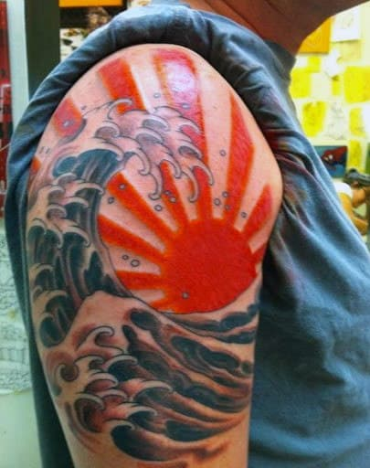 Upper Arm Creative Mens Sun Ray Tattoos