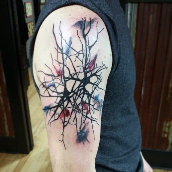 Upper Arm Creative Neuron Tattoos For Men
