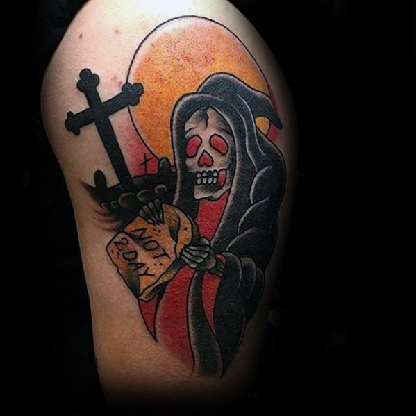 upper-arm-cross-traditional-reaper-tattoos-for-gentlemen