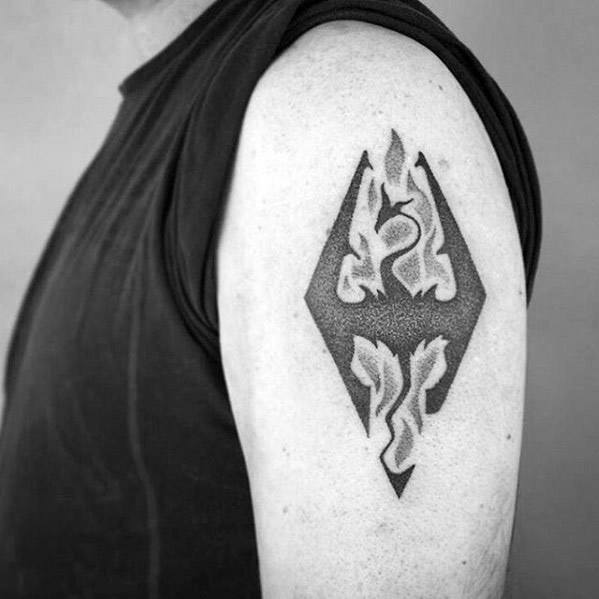 Upper Arm Dotwork Small Masculine Skyrim Tattoos For Men