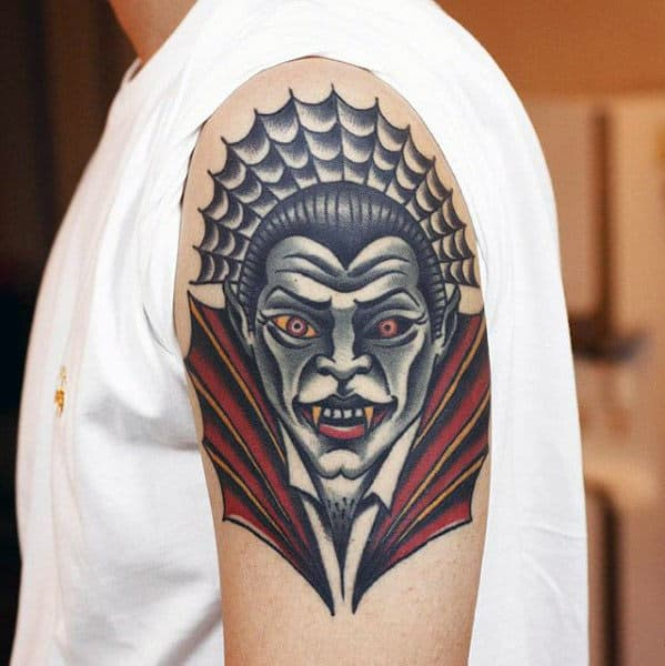 Upper Arm Dracula Traditional Tattoos For Men