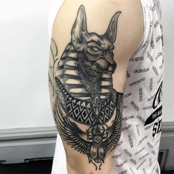 Upper Arm Egyptian Themed Anubis Male Tattoo Designs
