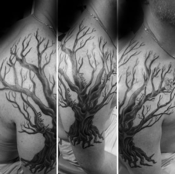 Upper Arm Family Tree Tattoos For Males