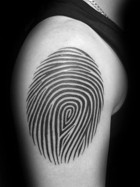 Upper Arm Fingerprint Black Ink Tattoos For Male