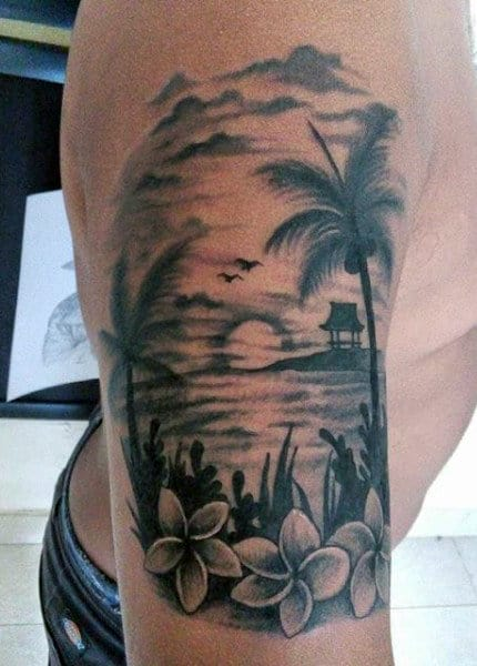 Upper Arm Floral Beach Tattoo For Men In Black Ink