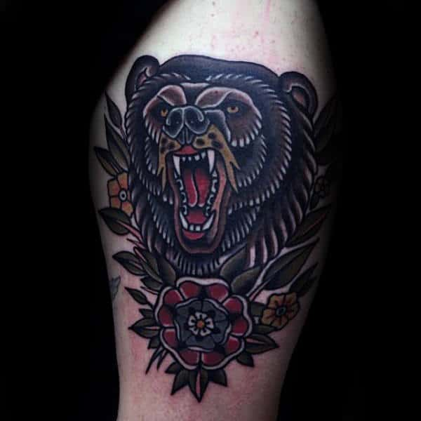 Upper Arm Floral Male Traditional Bear Tattoo