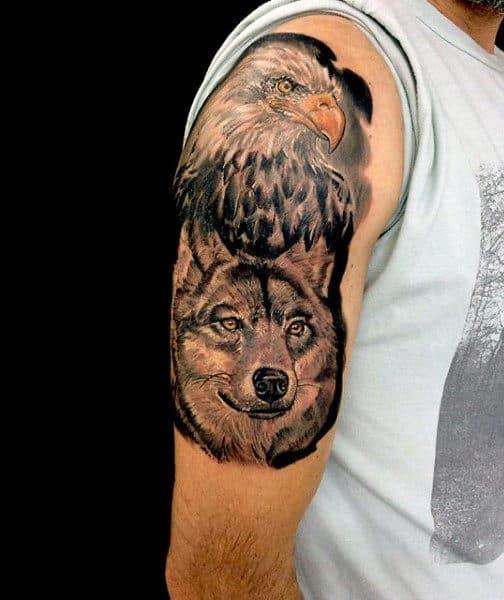 Upper Arm Flying Eagle Tattoo For Men