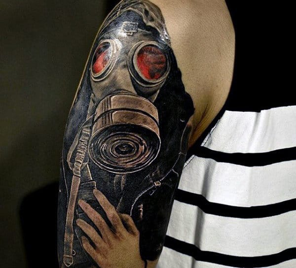 Upper Arm Gask Mask With Realistic Hand Tattoo For Guys