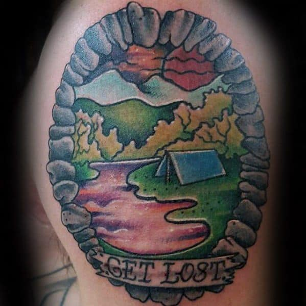 Upper Arm Get Lost Banner Mens Tattoo With Camping Design