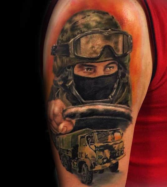 Upper Arm Green Army Mens Solider Tattoo Design