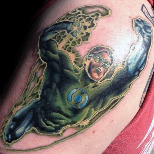 Upper Arm Green Lantern Tattoo Ideas For Males